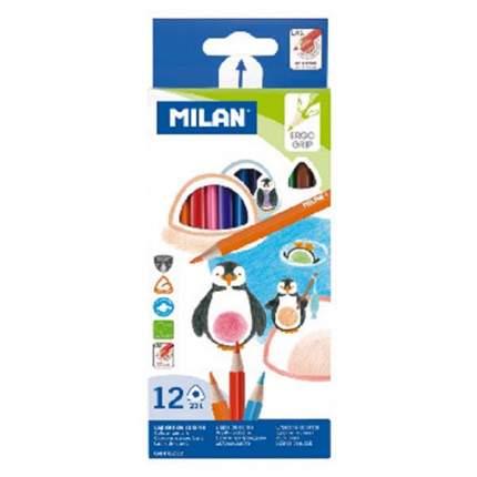 """Карандаши цветные """"Milan"""", трехгранные, 12 цветов"""