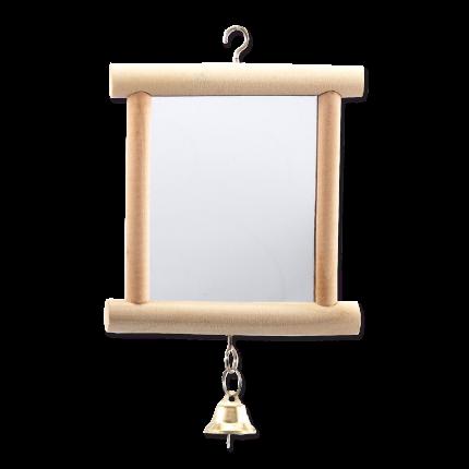 Зеркало для птиц Bird Jewel, дерево, с колокольчиком, 10x13см