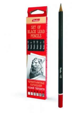 Набор чернографитных карандашей, 6 штук, без ластика