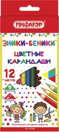 """Карандаши цветные """"Эники-беники"""", 12 цветов, классические, заточенные"""