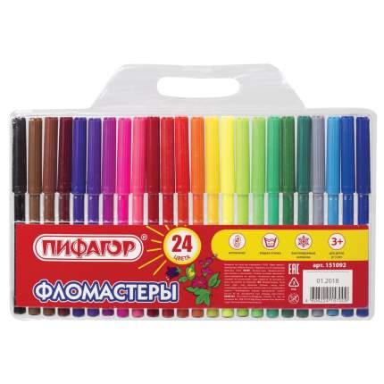 """Фломастеры """"Пифагор"""", 24 цвета"""