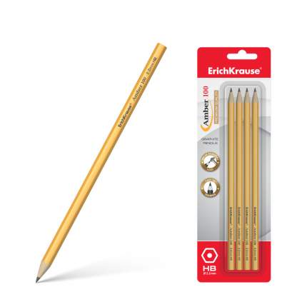 Чернографитный шестигранный карандаш ErichKrause® Amber 100 HB блистер 4