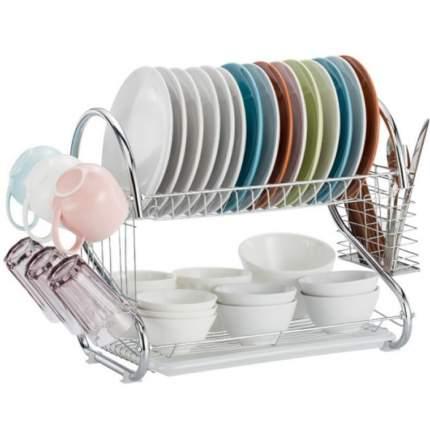 """Двухуровневая хромированная сушилка для посуды с поддоном Home Comfort """"Зигзаг"""""""