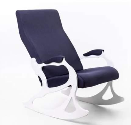 Кресло- качалка Санторини ткань деним, каркас белый