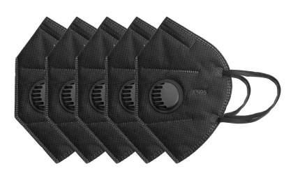 Маска многоразовая защитная KN95 с клапаном 5шт, цвет черный