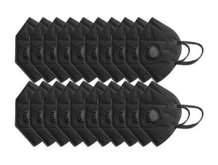 Маска многоразовая защитная KN95 с клапаном 20шт, цвет черный