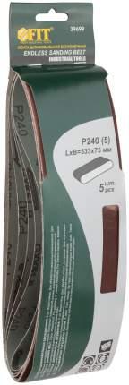 Ремни шлифовальные 75х533 мм  Р 240, 5шт. FIT 39699