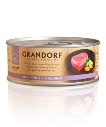 Консервы для кошек Grandorf, тунец, мидии, 6шт, 70г