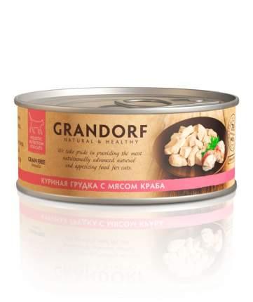 Консервы для кошек Grandorf, курица, краб, 6шт, 70г