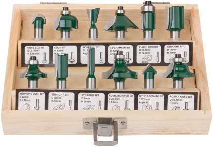Фрезы по дереву для фасок в деревянном корпусе, 8 мм, набор 12 шт, 36578