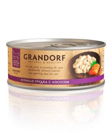 Консервы для кошек Grandorf, курица, лосось, 6шт, 70г