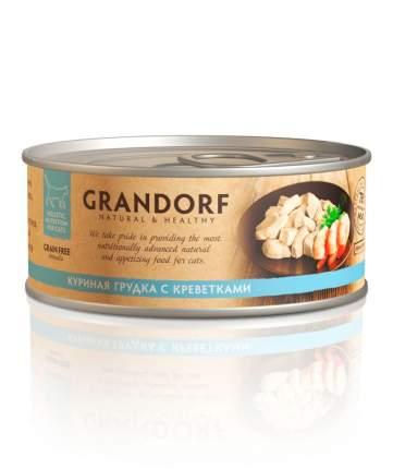 Консервы для кошек Grandorf, курица, креветки, 6шт, 70г