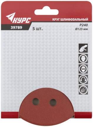 Круги шлифовальные с отверстиями, алюминий-оксидные, 125 мм, 5 шт, Р 240 КУРС 39789