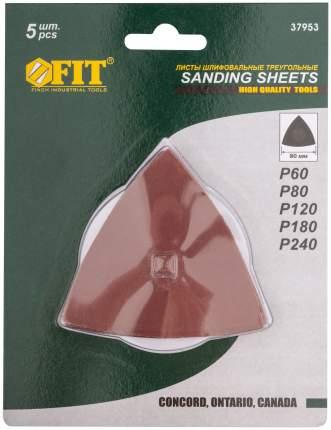 Листы шлифовальные треугольные, 80 мм, 5 шт. FIT 37953