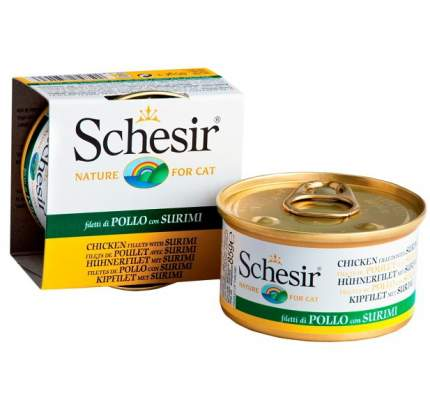 Консервы для кошек Schesir, курица с сурими14шт, 85г
