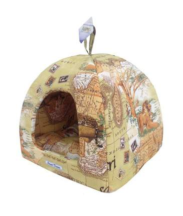 Домик для кошек и собак Бобровый Дворик Сладкий сон №2 Сафари, желтый, 42x38x42см