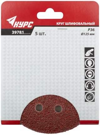 Круги шлифовальные с отверстиями (липучка), 125 мм, 5 шт, Р 36 КУРС 39781