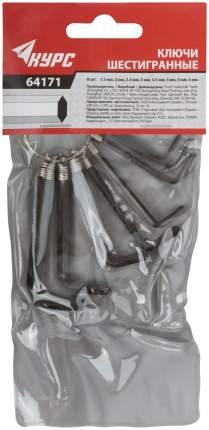 Ключи шестигранные на кольце 8 шт, ( 1,5-6 мм ) КУРС 64171
