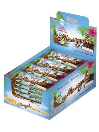 Шоколадный батончик Кремлина Мальдивы с мякотью кокоса и ананаса 20 штук