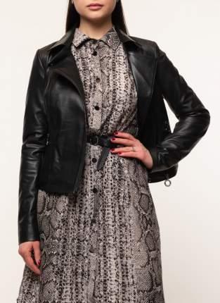Кожаная куртка женская Каляев 45570 черная 44 RU