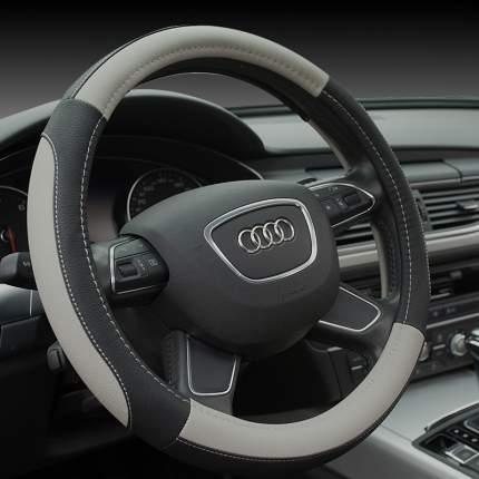Оплетка на рулевое колесо AVTOLIDER1 М 37-39см Черно-серая, экокожа