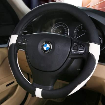 Оплетка на рулевое колесо AVTOLIDER1 двухсторонняя М 37-39см Черно-белая, экокожа