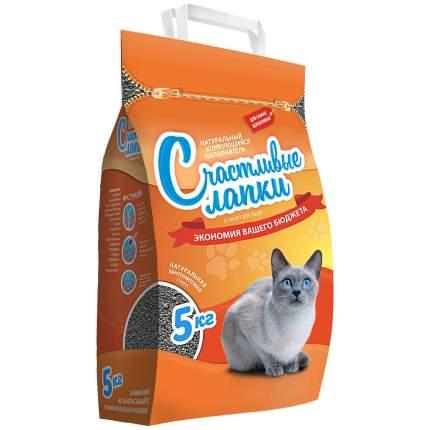 Комкующийся наполнитель для кошек Счастливые Лапки Эконом бентонитовый, 5 кг