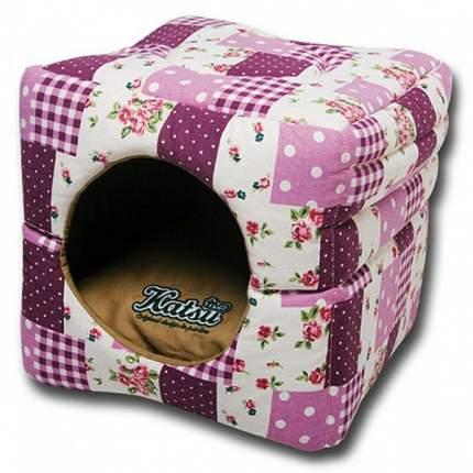 Домик для кошек и собак Katsu Пэчворк S, складной, розовый, 30x30x30см