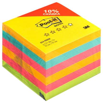 Блок бумаги для заметок Sigma Неон с клеевым краем 76х76 мм 6х100 л