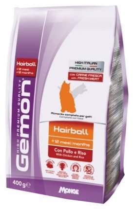 Сухой корм для кошек Gemon Hairball, для выведения шерсти, курица и рис, 0,4кг