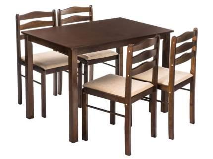Обеденная группа STARTER (стол и 4 стула) Бежевый, шенилл/Темный дуб