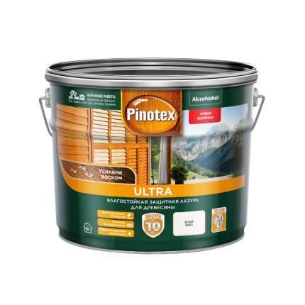 Защитная лазурь Pinotex Ultra влагостойкая для древесины белая 9 л