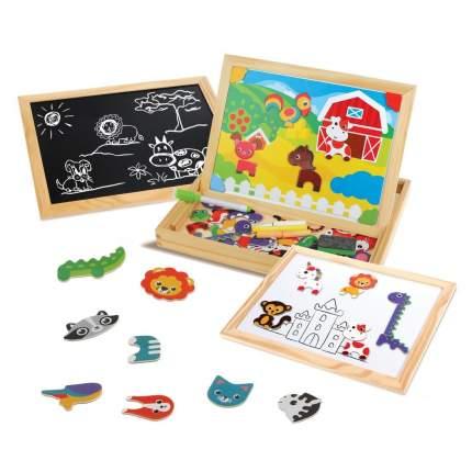Бизи-чемоданчик Mapacha Животные: доска для рисования, меловая доска, фигурки, 2 фона