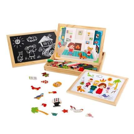 Бизи-чемоданчик Mapacha Дружная семья: доска для рисования, меловая доска, фигурки, 2 фона
