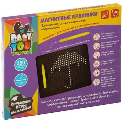 Планшет магнитный Bondibon Магнитные крапинки Baby you 22,5*18*1,3 см, 380 шариков, черный