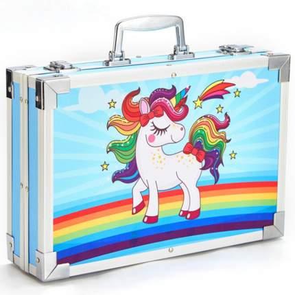 Детский набор художника little Rainbow в металлическом кейсе, 143 пред,голубой,LR-SET-12