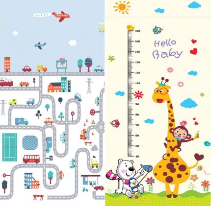 Коврик MIKMEL игровой двусторонний складной Городской трафик/Жирафы 180х200х1 см MCH-FM-16