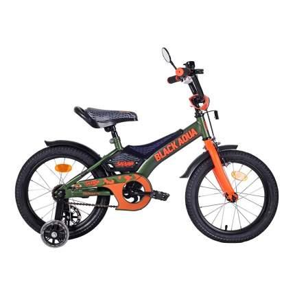 Велосипед Black Aqua BA Sharp 16, колеса светятся, 1s, хаки-оранжевый