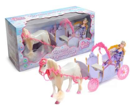 Набор Карета с куклами и лошадкой (свет, звук, движение), сиреневый Girl's Club