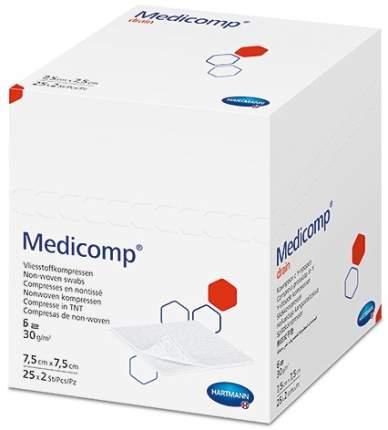 Стерильная салфетка с вырезом для катетеров канюль 7,5х7,5 см 50 шт. Medicomp Drain Steril