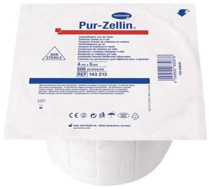 Тампоны-подушечки из креп.бумаги, 4х5 см, 1х500 шт, нестерильные Pur-zellin