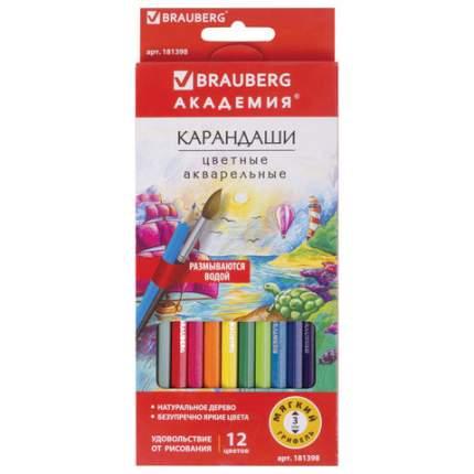 Карандаши 12 цветов акварельные BRAUBERG АКАДЕМИЯ шестигранные(181398)