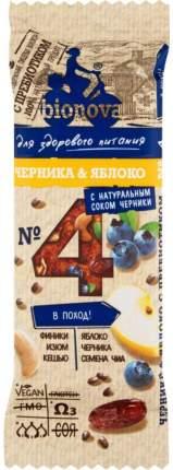 Батончик для здорового питания Bionova №4 черника и яблоко с натуральным соком 35 г
