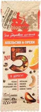 Батончик для здорового питания Bionova №5 апельсин и орехи 35 г