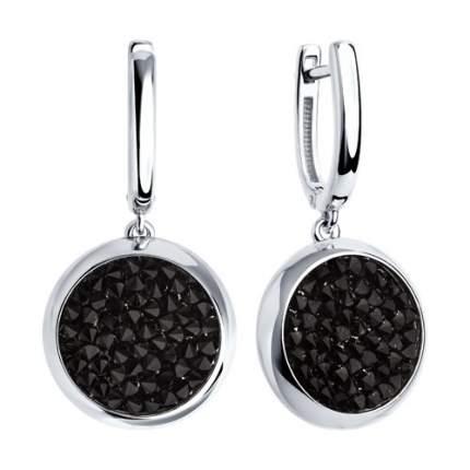 Серебряные серьги с чёрными кристаллами Swarovski SOKOLOV