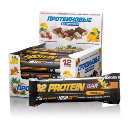 Батончик IRONMAN 32 Protein bar 12штх50г ваниль/темная глазурь