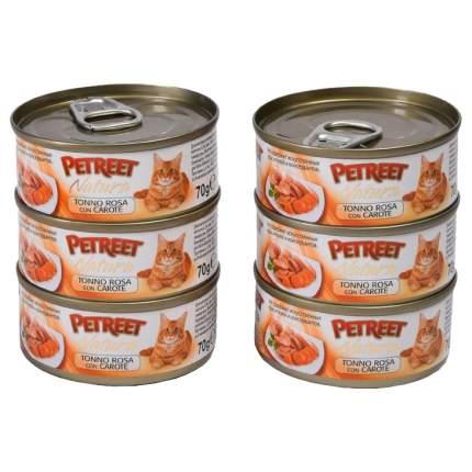 Консервы для кошек Petreet Natura Multipack Кусочки розового тунца с морковью 70г 6 шт