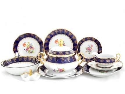 Сервиз столовый Leander Мэри-Энн Темно-синяя окантовка с цветами, 25 пр.