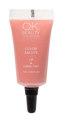 Губная помада O.K.BEAUTY Color Salute Lip & Cheek Tint, пастельно-розовый, 7мл