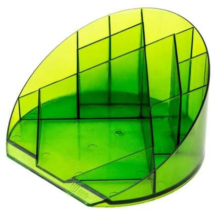 """Подставка для канцелярских мелочей """"Яркий офис"""", 12 отделений, прозрачный, цвет лайм"""